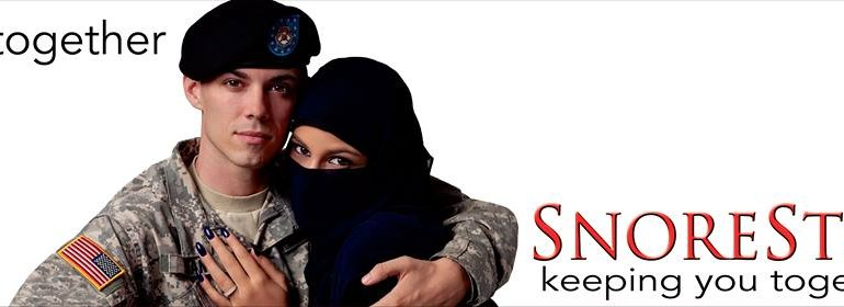 Snore Stop Billboard: Features American Soldier Embracing Muslim Woman. Now React.