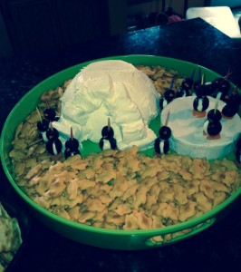 A penguin gathering is not complete without a penguin iceberg dip. (Compliements of Kim B.)